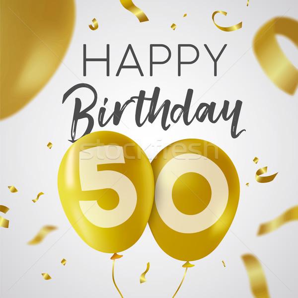 С Днем Рождения 50 пятьдесят год золото шаре Сток-фото © cienpies