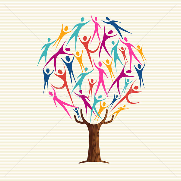 People shape tree for community help concept Stock photo © cienpies