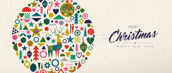 Stock fotó: Karácsony · új · év · retro · művészet · dekoráció · vidám