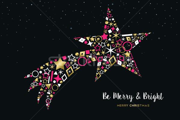 Karácsony hullócsillag arany ikon gyűjtemény vidám boldog új évet Stock fotó © cienpies