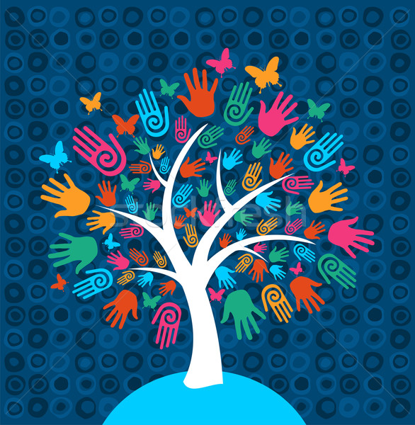 Diversity tree hands background Stock photo © cienpies