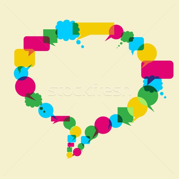 Közösségi média hálózat ötlet szövegbuborék forma elrendezés Stock fotó © cienpies