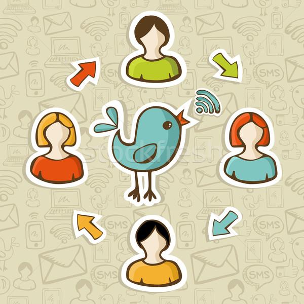 Social media rss feed sieci wzajemne oddziaływanie Zdjęcia stock © cienpies