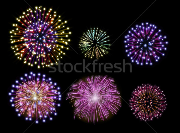 Happy new year feux d'artifice design ensemble coloré Photo stock © cienpies