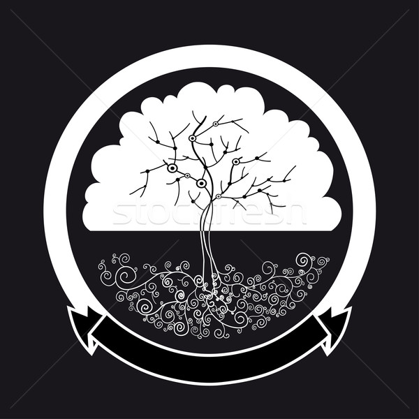 Abstract witte boom silhouet label vector Stockfoto © cienpies