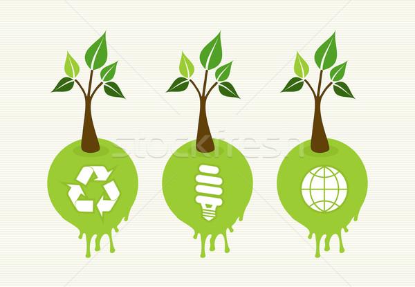 Green concept tree icon set Stock photo © cienpies