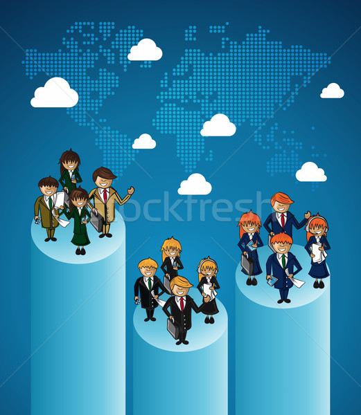 World map business teamwork ranking. Stock photo © cienpies