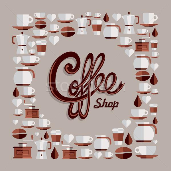 Coffee flat icons illustration Stock photo © cienpies