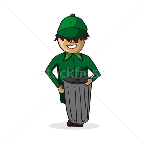 Profession garbage man cartoon figure. Stock photo © cienpies