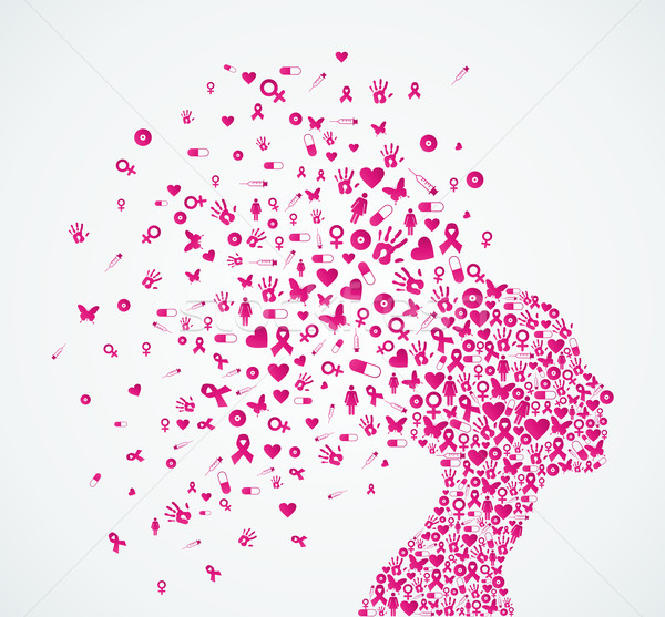 Breast cancer awareness ribbon woman head composition. Stock photo © cienpies