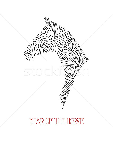 Abstract sketch illustration: Chinese new year of the Horse. Stock photo © cienpies