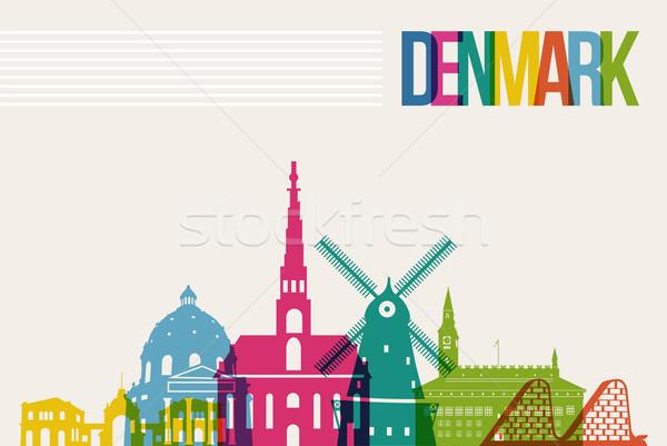 Reizen Denemarken bestemming skyline beroemd veelkleurig Stockfoto © cienpies