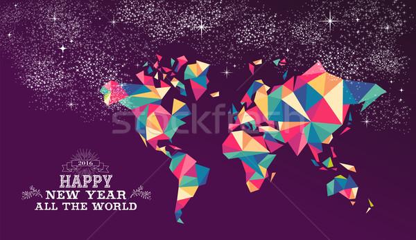 Foto stock: Feliz · ano · novo · 2016 · mundo · triângulo · cor