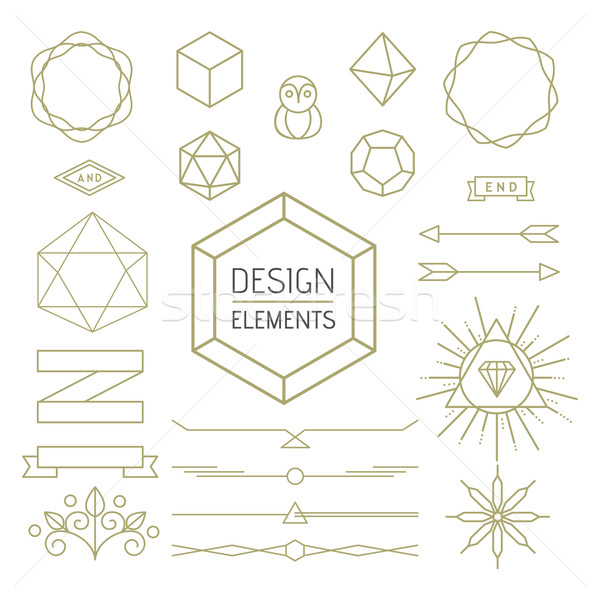 Design element set mono line art geometry symbol Stock photo © cienpies