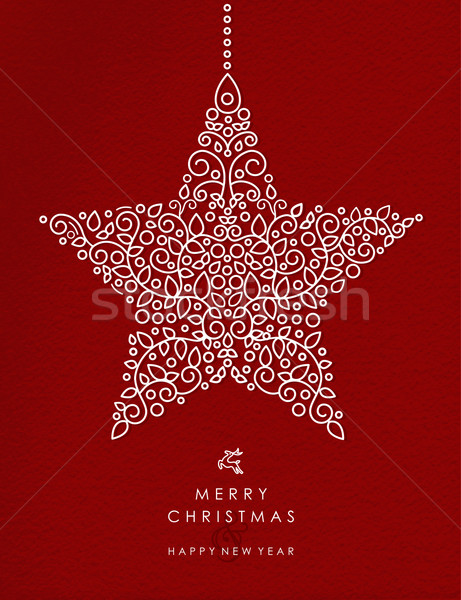 Merry christmas happy new year outline star deco Stock photo © cienpies