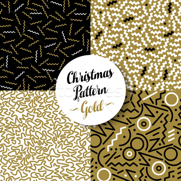 Merry christmas pattern set gold retro 80s holiday Stock photo © cienpies