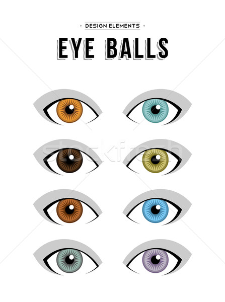 Set of neutral concept human eye illustrations Stock photo © cienpies