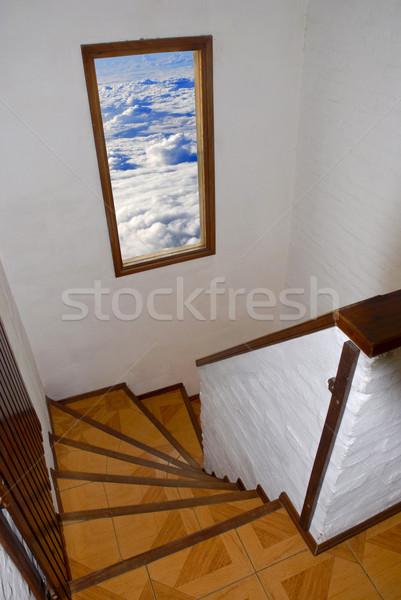 Klatka schodowa nieba schody otwarte okno mętny Zdjęcia stock © cienpies