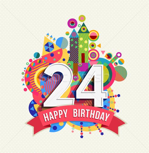 С Днем Рождения 24 год плакат цвета Сток-фото © cienpies