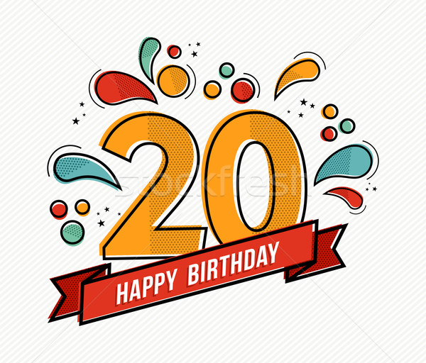 Colorful happy birthday number 20 flat line design Stock photo © cienpies