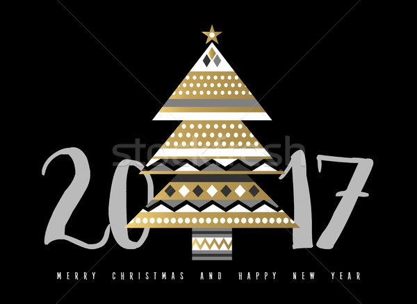 Gold Christmas and New Year 2017 tree illustration Stock photo © cienpies