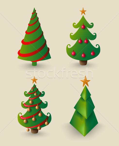 Рождества Cartoon сосна набор украшение Элементы Сток-фото © cienpies