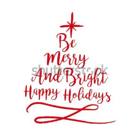 Noël texte citer typographie arbre illustration Photo stock © cienpies
