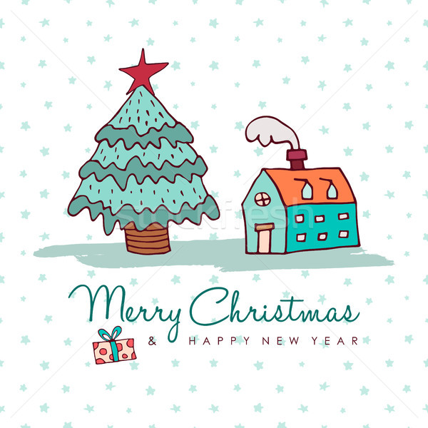 Christmas and new year cozy holiday home cartoon Stock photo © cienpies