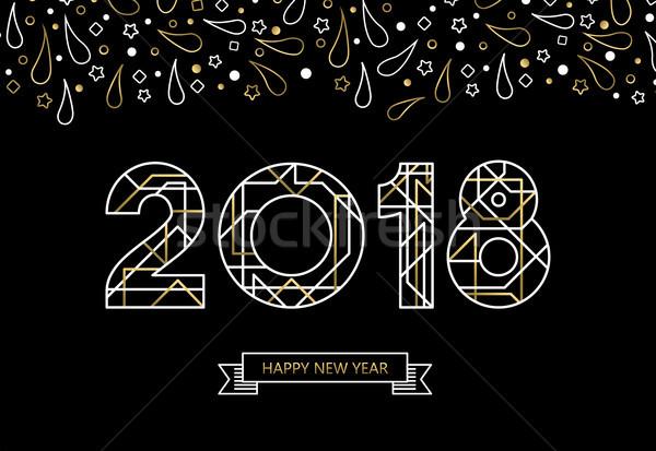 Gelukkig nieuwjaar goud lijn kunst typografie kaart Stockfoto © cienpies