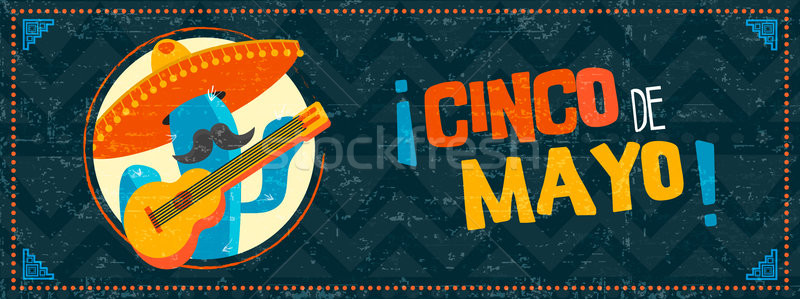 Happy cinco de mayo cactus mariachi web banner Stock photo © cienpies