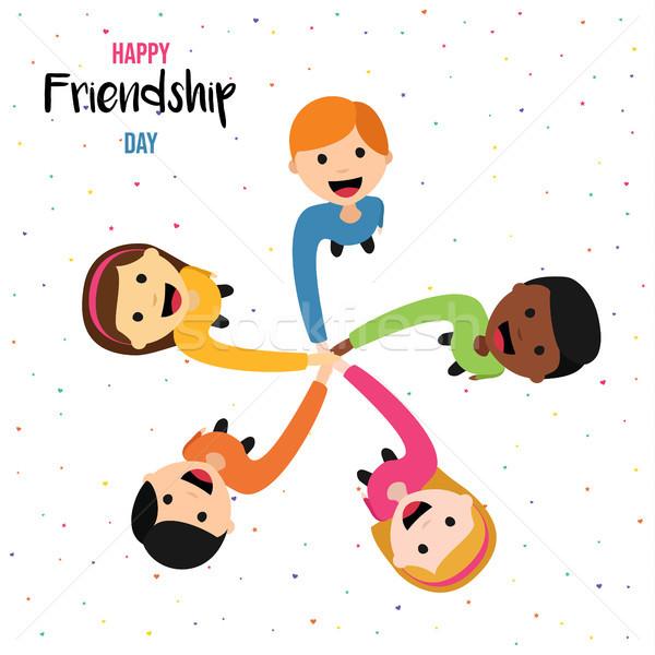 Amizade dia cartão feliz criança amigos Foto stock © cienpies
