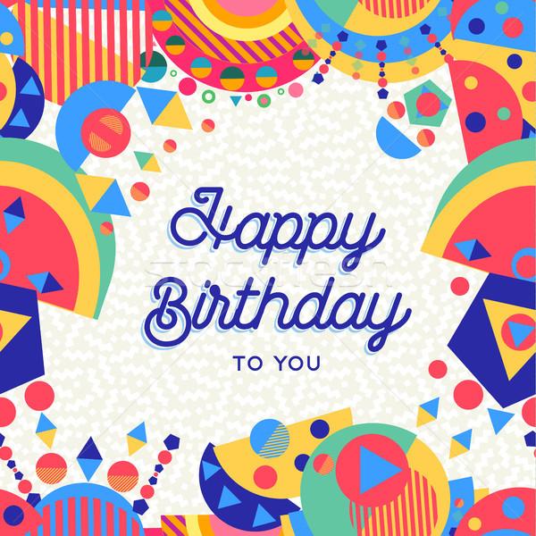 Boldog születésnapot buli kártya jókedv dekoráció üdvözlőlap Stock fotó © cienpies