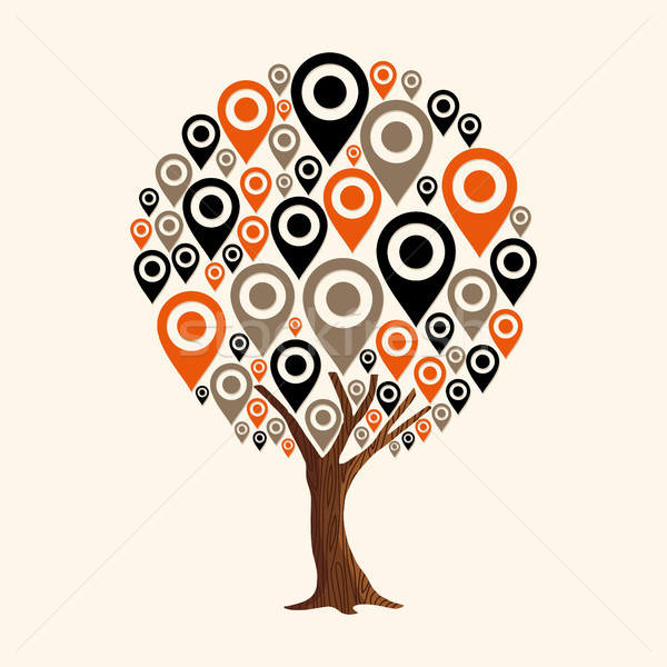 GPS pin ikona nawigacja app drzewo Zdjęcia stock © cienpies
