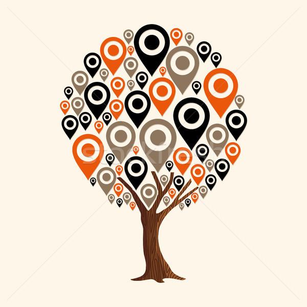 GPS pin icona navigazione app albero Foto d'archivio © cienpies