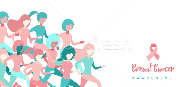 Photo stock: Cancer · du · sein · conscience · fille · groupe · courir · illustration