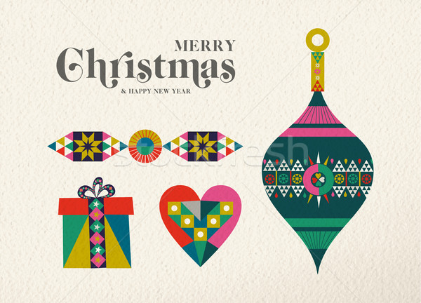 Christmas and New Year retro holiday ornament card Stock photo © cienpies