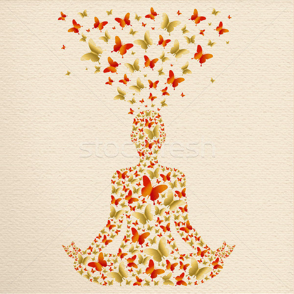 Yoga lotus pose relaxation exercise meditation Stock photo © cienpies