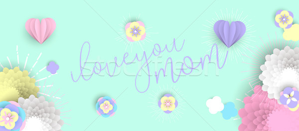 Mother day web banner of pink paper art flowers Stock photo © cienpies