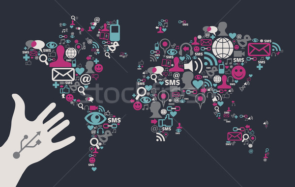 Usb hand reaches a social media world map Stock photo © cienpies