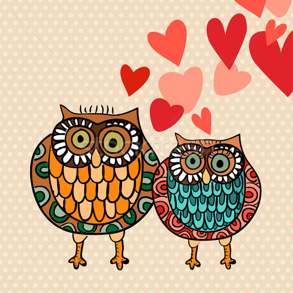 Valentine owl couple in love Stock photo © cienpies
