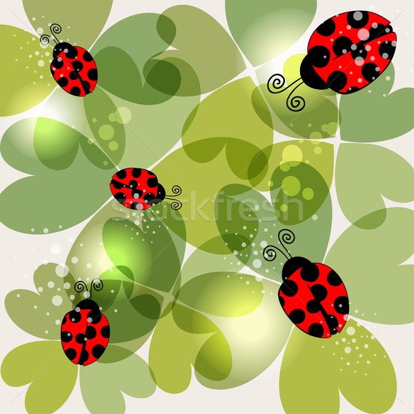 Transparent clover and ladybug background Stock photo © cienpies