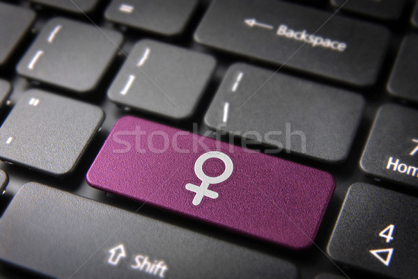 Pink Female keyboard key sign, Gender background Stock photo © cienpies