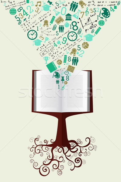 Stock photo: Education back to school green icons book tree.