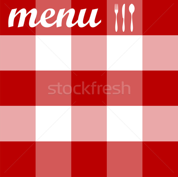 Menu design. Cutlery on red tablecloth texture Stock photo © cienpies