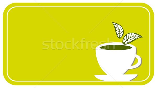 Teáscsésze címke citrom citromsárga fehér csésze Stock fotó © cienpies