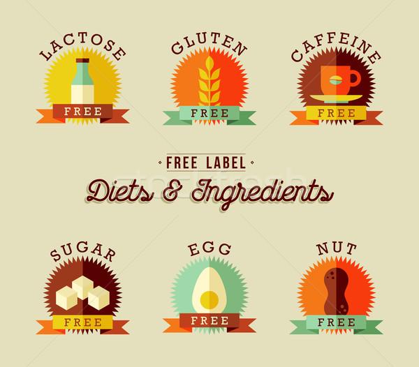 Alimentação saudável etiqueta projeto conjunto estilo comida Foto stock © cienpies