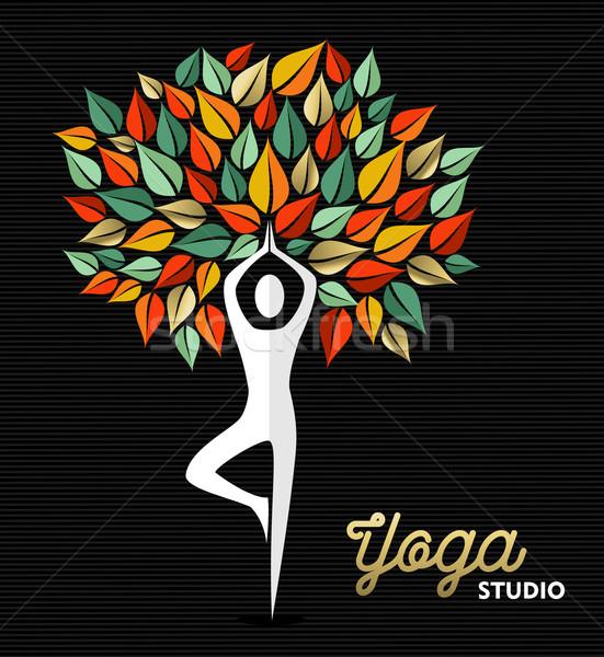 Yoga studio template silhouette and nature design Stock photo © cienpies