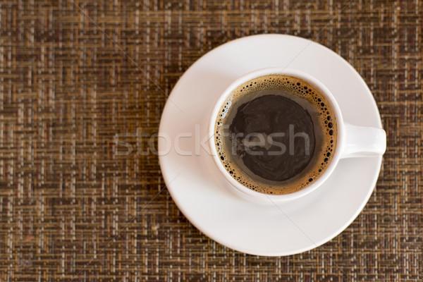 Csésze kávé felső kilátás fonott textúra Stock fotó © cienpies