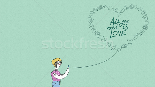 Internet love concept design woman on phone  Stock photo © cienpies