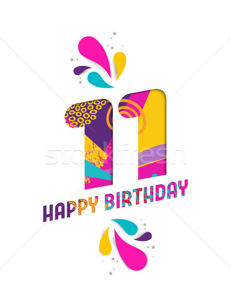 Happy birthday 11 year paper cut greeting card Stock photo © cienpies